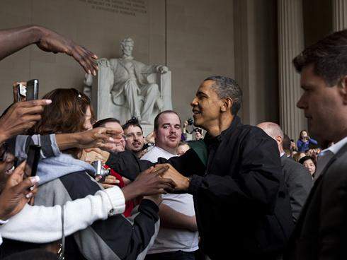 Brothers pictured with President Obama at the Lincoln Memorial during the weekend of Tau Chapter's Installations, dated April 2011.